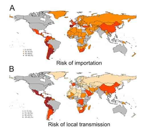 (上)ジカウイルスの輸入リスク (下)ジカウイルスの国内伝播リスク